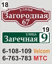 Табличка с названием улицы и номером дома Солигорск