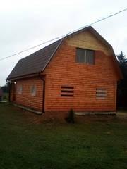 Дом сруб Владимир 9 × 7 с верандой,  доставка-установка Солигорск